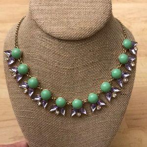 J. Crew purple and green rhinestone necklace